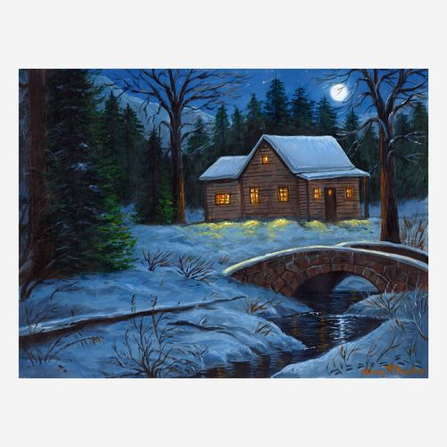 the moonlight cabin, 16 x 12 inch, niraj pradhan,16x12inch,canvas board,landscape paintings,nature paintings | scenery paintings,paintings for bedroom,paintings for office,paintings for hotel,paintings for bedroom,paintings for office,paintings for hotel,acrylic color,GAL049231331