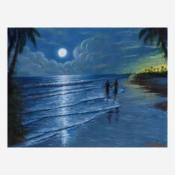 the moonlight walk, 16 x 12 inch, niraj pradhan,16x12inch,canvas board,paintings,landscape paintings,nature paintings | scenery paintings,paintings for living room,paintings for bedroom,paintings for office,paintings for hotel,paintings for hospital,acrylic color,GAL049231332