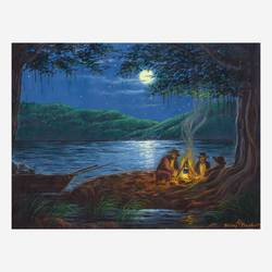 the moonlight campfire, 16 x 12 inch, niraj pradhan,16x12inch,canvas board,paintings,landscape paintings,nature paintings | scenery paintings,paintings for living room,paintings for bedroom,paintings for office,paintings for hotel,paintings for hospital,acrylic color,GAL049231333