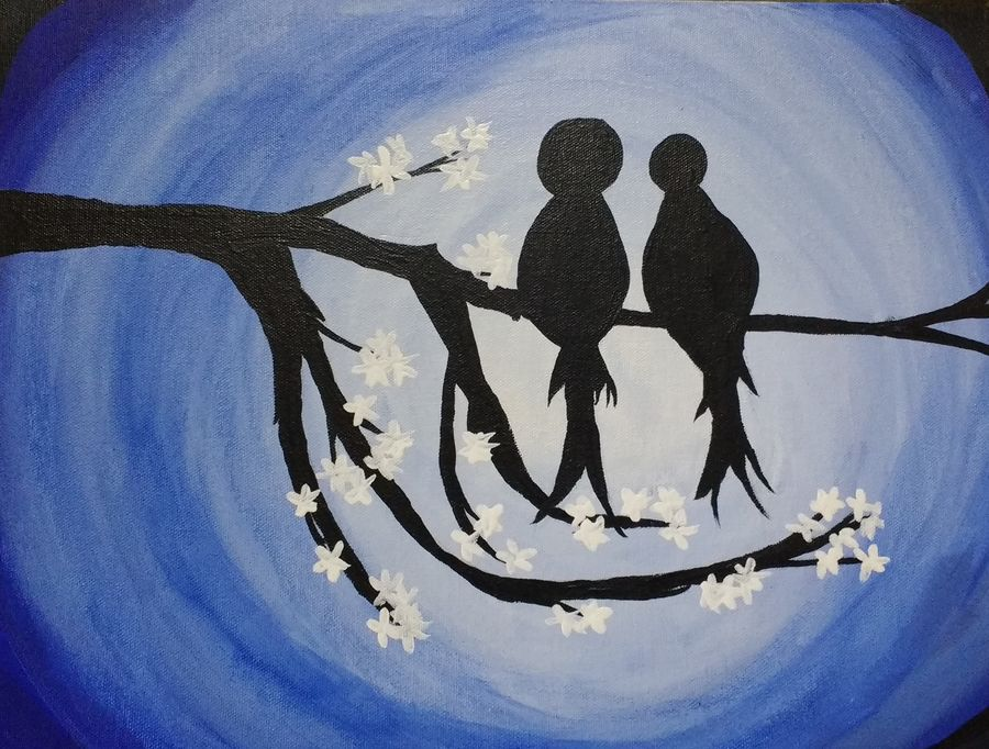 love birds, 9 x 10 inch, urvy p prakash,love paintings,paintings for bedroom,canvas,acrylic color,9x10inch,GAL011713134heart,family,caring,happiness,forever,happy,trust,passion,romance,sweet,kiss,love,hugs,warm,fun,kisses,joy,friendship,marriage,chocolate,husband,wife,forever,caring,couple,sweetheart