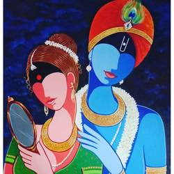 radha krishna, 24 x 36 inch, santosh dangare,24x36inch,canvas,paintings,figurative paintings,modern art paintings,religious paintings,portrait paintings,radha krishna paintings,paintings for dining room,paintings for living room,paintings for bedroom,paintings for office,paintings for kids room,acrylic color,GAL01969331345