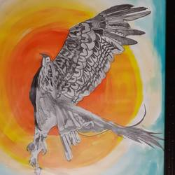magnificence with wings, 11 x 14 inch, satguru saran pantula,11x14inch,thick paper,wildlife paintings,mixed media,paper,GAL01438031347