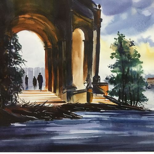 gate, 16 x 12 inch, shankhadeep  mondal,16x12inch,brustro watercolor paper,paintings,cityscape paintings,modern art paintings,conceptual paintings,paintings for dining room,paintings for living room,paintings for bedroom,paintings for office,paintings for bathroom,paintings for kids room,paintings for hotel,paintings for kitchen,paintings for school,paintings for hospital,watercolor,GAL01403031348