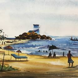 kovalam beach, 15 x 11 inch, shankhadeep  mondal,15x11inch,handmade paper,paintings,landscape paintings,nature paintings | scenery paintings,paintings for dining room,paintings for living room,paintings for bedroom,paintings for office,paintings for bathroom,paintings for kids room,paintings for hotel,paintings for kitchen,paintings for school,paintings for hospital,paintings for dining room,paintings for living room,paintings for bedroom,paintings for office,paintings for bathroom,paintings for kids room,paintings for hotel,paintings for kitchen,paintings for school,paintings for hospital,watercolor,GAL01403031350