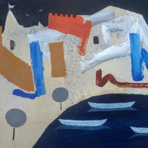 banaras ghat 2020 - iv, 11 x 7 inch, girish chandra vidyaratna,11x7inch,paper,paintings,abstract paintings,landscape paintings,acrylic color,GAL03631361