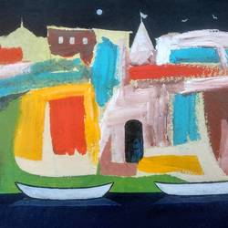 banaras ghat 2020 - viii, 11 x 7 inch, girish chandra vidyaratna,11x7inch,paper,paintings,abstract paintings,landscape paintings,acrylic color,GAL03631365