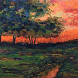 landscape oil painting - dusk, 30 x 24 inch, sayak mukherjee,30x24inch,canvas,paintings,abstract paintings,landscape paintings,nature paintings | scenery paintings,art deco paintings,impressionist paintings,paintings for dining room,paintings for living room,paintings for bedroom,paintings for office,paintings for kids room,paintings for hotel,paintings for kitchen,paintings for school,paintings for hospital,oil color,GAL01973431383