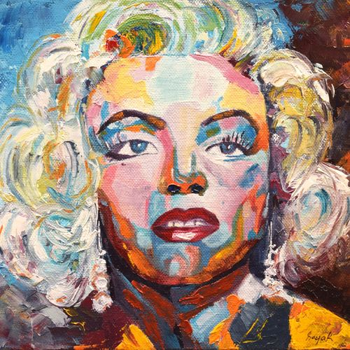 abstract portrait oil painting - marilyn monroe, 10 x 8 inch, sayak mukherjee,10x8inch,canvas board,paintings,abstract paintings,portrait paintings,art deco paintings,realism paintings,paintings for dining room,paintings for living room,paintings for bedroom,paintings for office,paintings for hotel,oil color,GAL01973431391