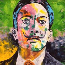 abstract portrait oil painting - salvador dali, 10 x 8 inch, sayak mukherjee,10x8inch,canvas board,paintings,abstract paintings,figurative paintings,portrait paintings,art deco paintings,realism paintings,paintings for living room,paintings for bedroom,paintings for office,paintings for hotel,paintings for school,oil color,GAL01973431392
