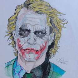 joker heath ledger, 8 x 12 inch, prajwal h r,8x12inch,paper,drawings,fine art drawings,paintings for living room,paintings for bedroom,paintings for kids room,pencil color,GAL01973531393