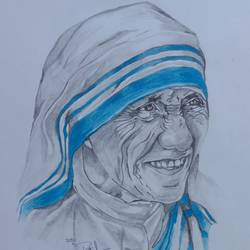 mother teresa , 8 x 12 inch, prajwal h r,8x12inch,paper,drawings,fine art drawings,portrait drawings,paintings for living room,paintings for bedroom,paintings for office,paintings for school,paintings for hospital,pencil color,GAL01973531397