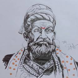chatrapathi shivaji, 8 x 12 inch, prajwal h r,8x12inch,paper,drawings,fine art drawings,portrait drawings,paintings for living room,paintings for office,pencil color,graphite pencil,GAL01973531401