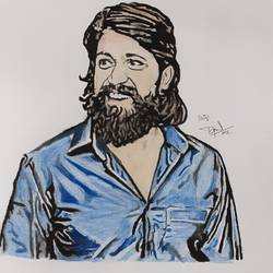 rocking star yash , 8 x 12 inch, prajwal h r,8x12inch,paper,drawings,paintings for living room,paintings for kids room,figurative drawings,fine art drawings,portrait drawings,paintings for living room,paintings for kids room,charcoal,pencil color,graphite pencil,GAL01973531403