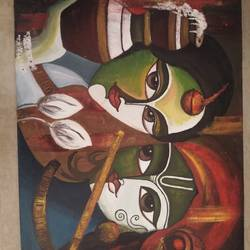 radha and krishna canvas painting , 24 x 18 inch, snehal gawade,24x18inch,canvas,paintings,modern art paintings,acrylic color,GAL01974431407