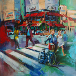 city life, 30 x 30 inch, chetna bernela,30x30inch,canvas,paintings,cityscape paintings,modern art paintings,paintings for dining room,paintings for living room,paintings for office,paintings for hotel,acrylic color,GAL0784531418