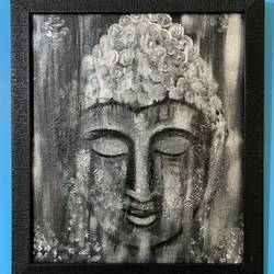 abstract buddha, 14 x 16 inch, rasmi r,14x16inch,canvas board,paintings,abstract paintings,buddha paintings,modern art paintings,conceptual paintings,paintings for dining room,paintings for living room,paintings for bedroom,paintings for office,paintings for hotel,paintings for school,paintings for hospital,acrylic color,GAL01977931435