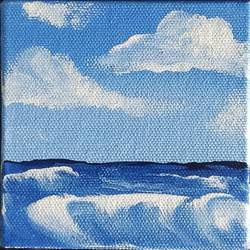 sea wave, 4 x 4 inch, dr. ahefaz mulani,4x4inch,canvas board,landscape paintings,acrylic color,GAL01865731442
