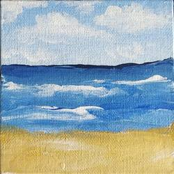 beach, 4 x 4 inch, dr. ahefaz mulani,4x4inch,canvas board,paintings,landscape paintings,acrylic color,GAL01865731443