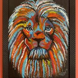 rainbow lion, 14 x 18 inch, rasmi r,14x18inch,canvas,paintings,abstract paintings,wildlife paintings,modern art paintings,pop art paintings,animal paintings,contemporary paintings,paintings for dining room,paintings for living room,paintings for bedroom,paintings for office,paintings for bathroom,paintings for kids room,paintings for hotel,paintings for kitchen,paintings for school,paintings for hospital,acrylic color,GAL01977931447