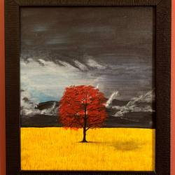 lone red tree, 11 x 13 inch, rasmi r,11x13inch,canvas,paintings,landscape paintings,conceptual paintings,nature paintings | scenery paintings,realistic paintings,paintings for dining room,paintings for living room,paintings for bedroom,paintings for office,paintings for bathroom,paintings for kids room,paintings for hotel,paintings for school,paintings for hospital,acrylic color,GAL01977931448