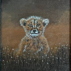 lion cub, 7 x 9 inch, rasmi r,7x9inch,canvas,paintings,wildlife paintings,landscape paintings,animal paintings,paintings for dining room,paintings for living room,paintings for bedroom,paintings for office,paintings for bathroom,paintings for kids room,paintings for hotel,paintings for kitchen,paintings for school,paintings for hospital,acrylic color,GAL01977931450