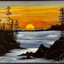 sunset, 9 x 7 inch, rasmi r,9x7inch,canvas,paintings,landscape paintings,nature paintings | scenery paintings,paintings for dining room,paintings for living room,paintings for bedroom,paintings for office,paintings for bathroom,paintings for kids room,paintings for hotel,paintings for kitchen,paintings for school,paintings for hospital,acrylic color,GAL01977931453