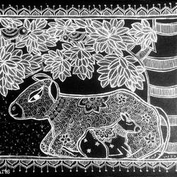 mother's embrace, 16 x 14 inch, akanksha sinha,16x14inch,canvas,paintings,animal paintings,children paintings,madhubani paintings | madhubani art,paintings for living room,paintings for bedroom,paintings for kids room,paintings for hotel,paintings for school,paintings for hospital,acrylic color,pen color,GAL01104131462
