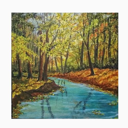 lake in fall, 12 x 12 inch, sumaiya javed,12x12inch,canvas board,paintings,landscape paintings,nature paintings   scenery paintings,photorealism paintings,photorealism,realism paintings,realistic paintings,paintings for dining room,paintings for living room,paintings for bedroom,paintings for office,paintings for hotel,paintings for hospital,acrylic color,GAL01962831467