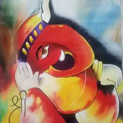 lord ganesha, 20 x 23 inch, apeksha agrawal,20x23inch,oil sheet,paintings,ganesha paintings | lord ganesh paintings,paintings for dining room,paintings for living room,paintings for bedroom,paintings for office,paintings for kids room,paintings for hotel,paintings for school,paintings for hospital,oil color,GAL01501131475