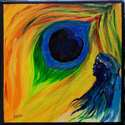 lord krishna - represent love with beautiful colors, 8 x 8 inch, suraj nair,8x8inch,canvas,abstract paintings,modern art paintings,religious paintings,abstract expressionism paintings,love paintings,acrylic color,mixed media,GAL01982931481