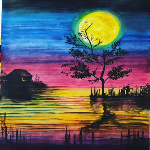 midnight moon painting, 11 x 15 inch, kiran chavan,11x15inch,thick paper,paintings,folk art paintings,landscape paintings,street art,paintings for dining room,paintings for living room,paintings for bedroom,paintings for office,paintings for hotel,paintings for school,paintings for hospital,acrylic color,watercolor,graphite pencil,GAL0732831482