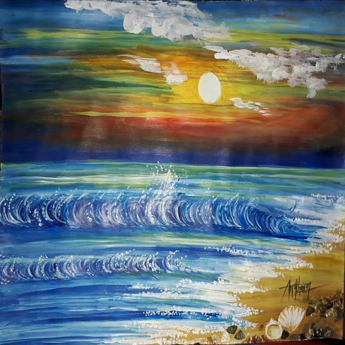sea waves landscape painting, 11 x 14 inch, kiran chavan,11x14inch,thick paper,paintings,landscape paintings,street art,paintings for dining room,paintings for living room,paintings for bedroom,paintings for office,paintings for hotel,paintings for kitchen,paintings for school,paintings for hospital,acrylic color,graphite pencil,GAL0732831483