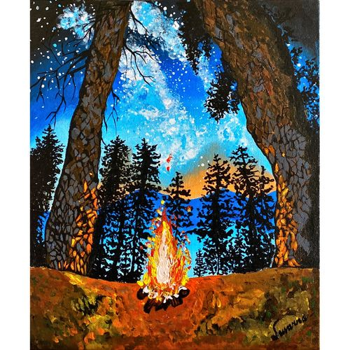 campfire, 10 x 12 inch, suvarna nirala,10x12inch,canvas,nature paintings | scenery paintings,paintings for dining room,paintings for living room,paintings for bedroom,paintings for dining room,paintings for living room,paintings for bedroom,acrylic color,fabric,GAL01148131489