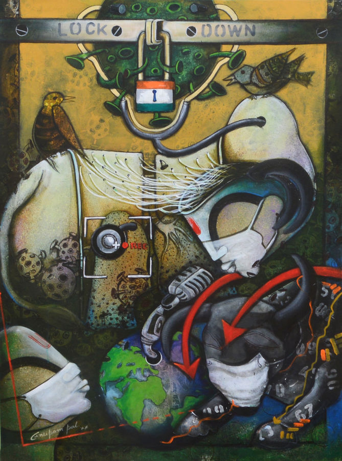 lockdown india, 30 x 40 inch, anupam  pal,30x40inch,canvas,paintings,abstract paintings,paintings for dining room,paintings for living room,paintings for bedroom,paintings for bathroom,paintings for kids room,paintings for hotel,paintings for kitchen,paintings for school,paintings for hospital,acrylic color,mixed media,GAL08231494