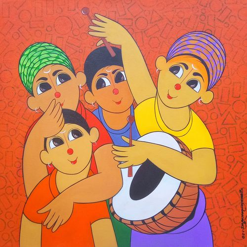 music 2020, 24 x 24 inch, dnyaneshwar  bembade ,24x24inch,canvas,paintings,figurative paintings,paintings for dining room,paintings for living room,paintings for bedroom,paintings for office,paintings for kids room,paintings for hotel,paintings for school,paintings for hospital,acrylic color,GAL046431496