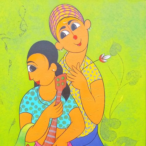 music 3, 24 x 36 inch, dnyaneshwar  bembade ,24x36inch,canvas,paintings,figurative paintings,paintings for dining room,paintings for living room,paintings for bedroom,paintings for office,paintings for kids room,paintings for hotel,paintings for school,paintings for hospital,acrylic color,GAL046431497