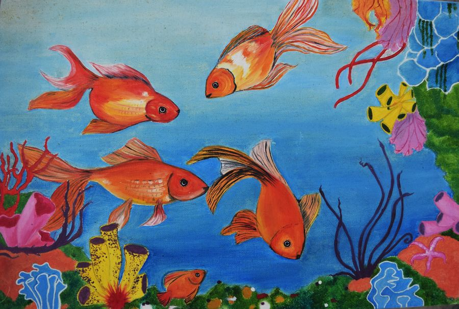 aquatic bliss, 18 x 12 inch, archana singh,animal paintings,paintings for living room,canvas,oil,18x12inch,GAL011723150