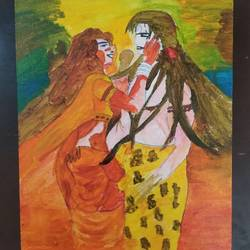 shiva parvati, 10 x 12 inch, sunitha pissay,10x12inch,canvas,paintings,abstract paintings,acrylic color,GAL01061731503