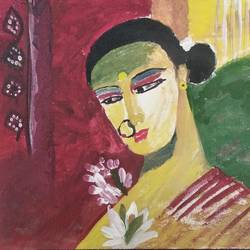 folk woman, 10 x 8 inch, sunitha pissay,10x8inch,fabriano sheet,paintings,contemporary paintings,acrylic color,GAL01061731505