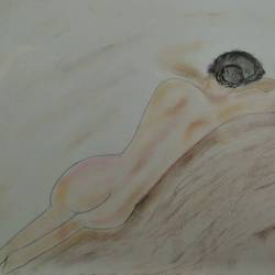 nude back woman, 12 x 10 inch, sunitha pissay,12x10inch,thick paper,drawings,portrait drawings,paintings for bedroom,pastel color,GAL01061731514