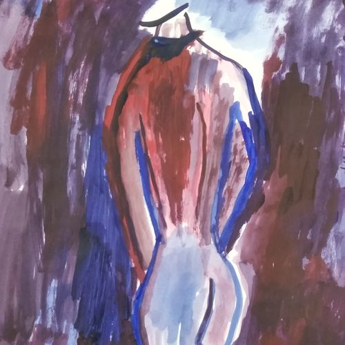 nude back man, 12 x 16 inch, sunitha pissay,12x16inch,ivory sheet,paintings,modern art paintings,paintings for living room,paintings for bedroom,paintings for bathroom,abstract drawings,acrylic color,GAL01061731515