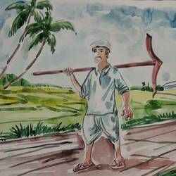 farmer, 12 x 10 inch, sunitha pissay,12x10inch,thick paper,nature paintings | scenery paintings,acrylic color,GAL01061731518