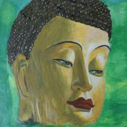 buddha, 18 x 24 inch, nikhil kamble,buddha paintings,paintings for living room,drawing paper,acrylic color,18x24inch,religious,peace,meditation,meditating,gautam,goutam,buddha,face,green,brown,GAL012123153
