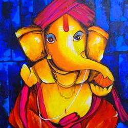 ganesha, 15 x 18 inch, kumar ranadive,15x18inch,canvas,paintings,ganesha paintings | lord ganesh paintings,paintings for living room,acrylic color,GAL01956931534