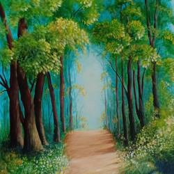forest road, 15 x 18 inch, kumar ranadive,15x18inch,canvas,nature paintings | scenery paintings,paintings for hotel,paintings for hotel,acrylic color,GAL01956931536