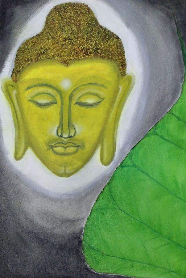 buddha and bodhi leaf, 12 x 15 inch, nikhil kamble,buddha paintings,paintings for living room,canvas board,oil,12x15inch,religious,peace,meditation,meditating,gautam,goutam,buddha,green,face,GAL012123154