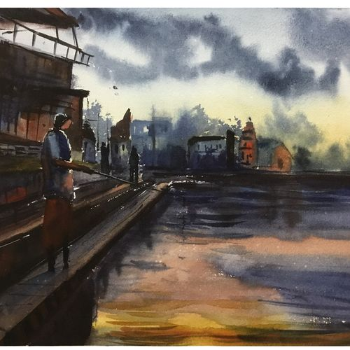 village pond, 19 x 11 inch, shankhadeep  mondal,19x11inch,handmade paper,paintings,conceptual paintings,paintings for dining room,paintings for living room,paintings for bedroom,paintings for office,paintings for bathroom,paintings for kids room,paintings for hotel,paintings for kitchen,paintings for school,paintings for hospital,watercolor,GAL01403031541