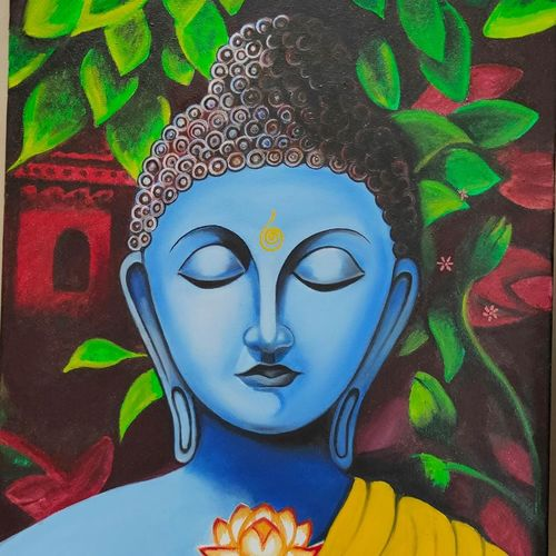 buddha oil stretched canvas painting, 16 x 20 inch, sunita srivastava,16x20inch,canvas board,paintings,buddha paintings,paintings for dining room,paintings for living room,paintings for bedroom,paintings for office,paintings for hotel,paintings for dining room,paintings for living room,paintings for bedroom,paintings for office,paintings for hotel,oil color,wood,GAL01662831543