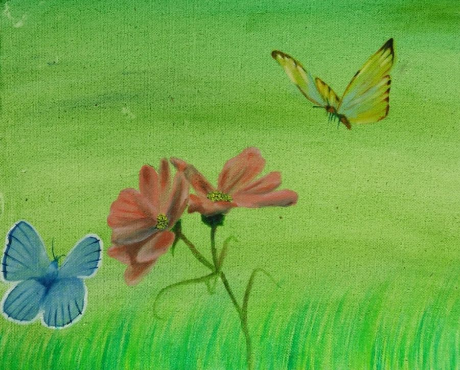 Butterfly with blossom painting
