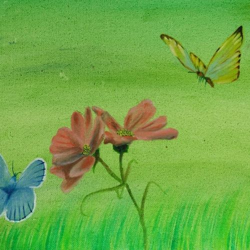 butterfly with blossom, 10 x 10 inch, nikhil kamble,nature paintings,paintings for living room,paintings,canvas board,oil,10x10inch,GAL012123155Nature,environment,Beauty,scenery,greenery